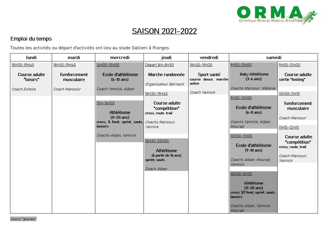 Saison 2021/2022 – Activités ORMA